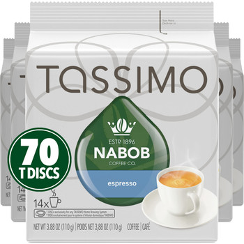 Tassimo Nabob Coffee Espresso, 70 T-Discs (5 Boxes of 14 T-Discs) {Imported from Canada}