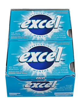 Excel Sugar-Free Pellet Gum, Peppermint, 12ct-12pk, (Imported from Canada)