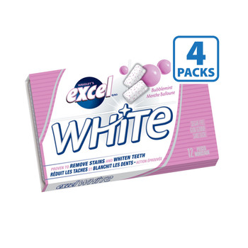 Excel White Chewing Gum White Bubblemint, 48 Count {Imported from Canada}
