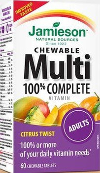 Jamieson 100% Complete Chewable Multivitamin for Adults Citrus Twist Multi, 60 chewable tabs