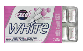 Excel White Sugar-Free Gum, Bubblemint, 12 Count {Imported from Canada}
