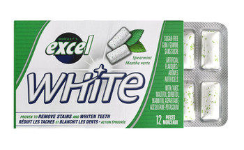 Excel White Sugar-Free Gum, Spearmint, 12 Count {Imported from Canada}