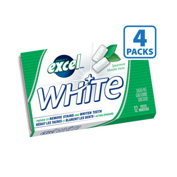 Excel White Sugar-Free Gum, Spearmint, 4-Pack {Imported from Canada}
