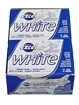 Excel White Sugar-Free Gum, Winterfresh, 12 Count {Imported from Canada}
