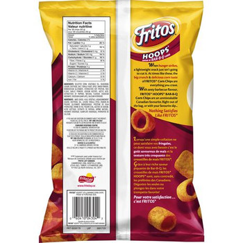 Fritos Hoops BARBQ Corn Chips 370g/13oz Bag {Imported from Canada}