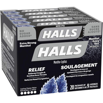 Halls Extra Strong Menthol, 20x9/180ct {Imported from Canada}