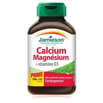 Jamieson Calcium and Magnesium with Vitamin D3 100 Caplets plus 100 Bonus