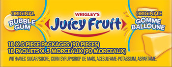 Juicy Fruit Original Bubble Gum ,18ct 90 Pieces of Gum {Imported from Canada}