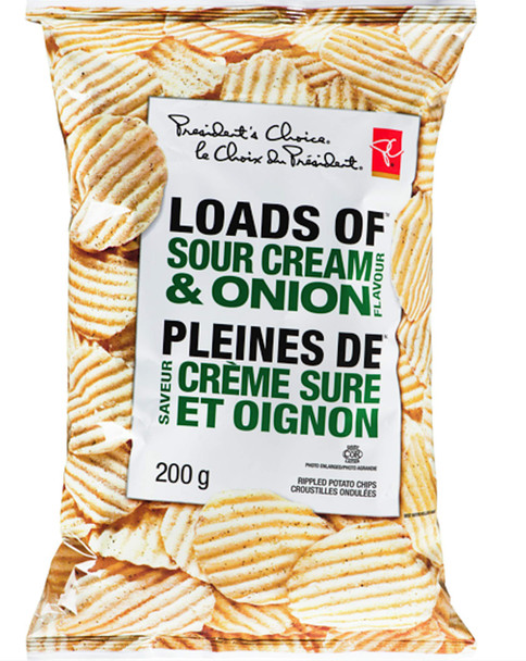 Presidents Choice Creamy Ripple Sour Cream & Onion Chips, 200g/7.1oz.,{Imported from Canada}