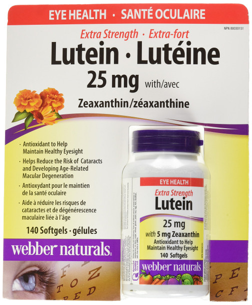Webber Naturals Extra-Strength Lutein, 140 Softgels, 25mg, {Imported from Canada}