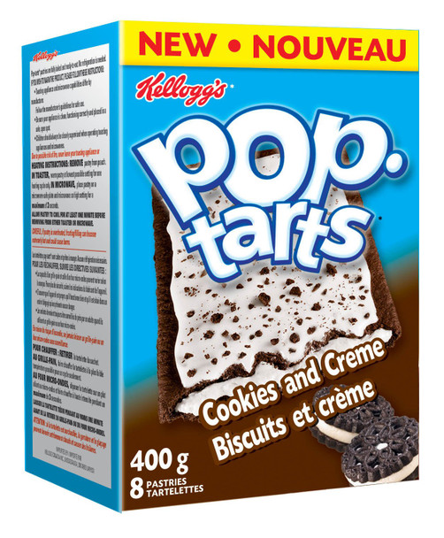 Kellogg's Pop-Tarts toaster pastries, Cookies & Creme, 8ct/ 400g/14.1oz, {Imported from Canada}