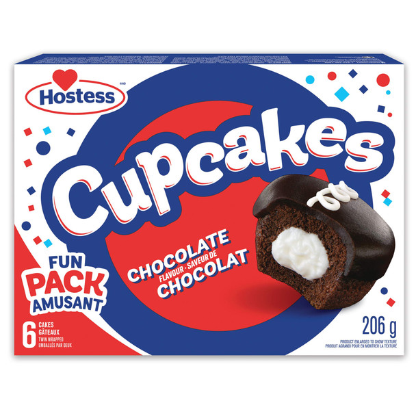 Hostess Chocolate Flavour Cupcakes Contains 6 Cupcakes, 206g/7.3oz {Imported from Canada}