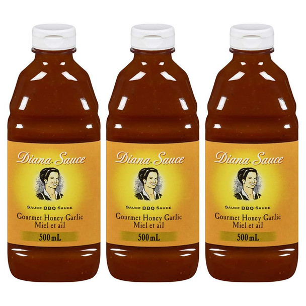 Diana Honey Garlic Barbeque Sauce 500ml, 3-Pack {Imported from Canada}