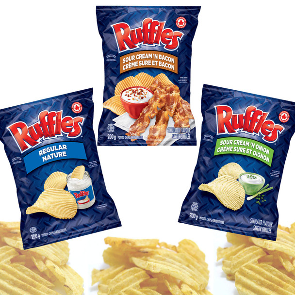 Ruffles Chips Variety Pack 200g/7.1 oz, Sour Cream N' Onion, Sour Cream N' Bacon and Regular {Imported from Canada}