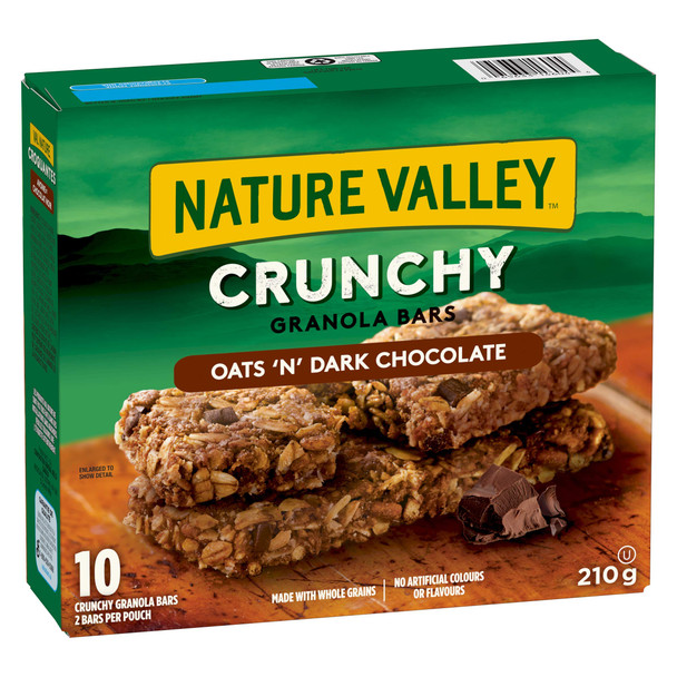 NATURE VALLEY Crunchy Granola Bar Oats and Dark Chocolate (10ct Box), 210g/7.4 oz., {Imported from Canada}