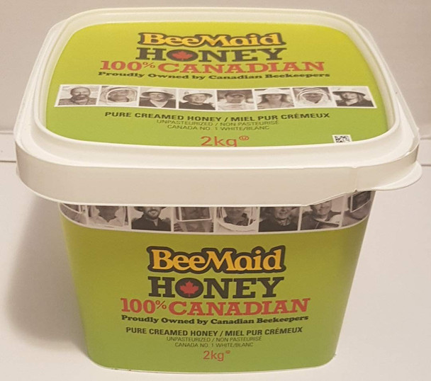 Bee Maid Creamed Honey, 2kg/4.4 Pounds, 100% Canadian, {Imported from Canada}