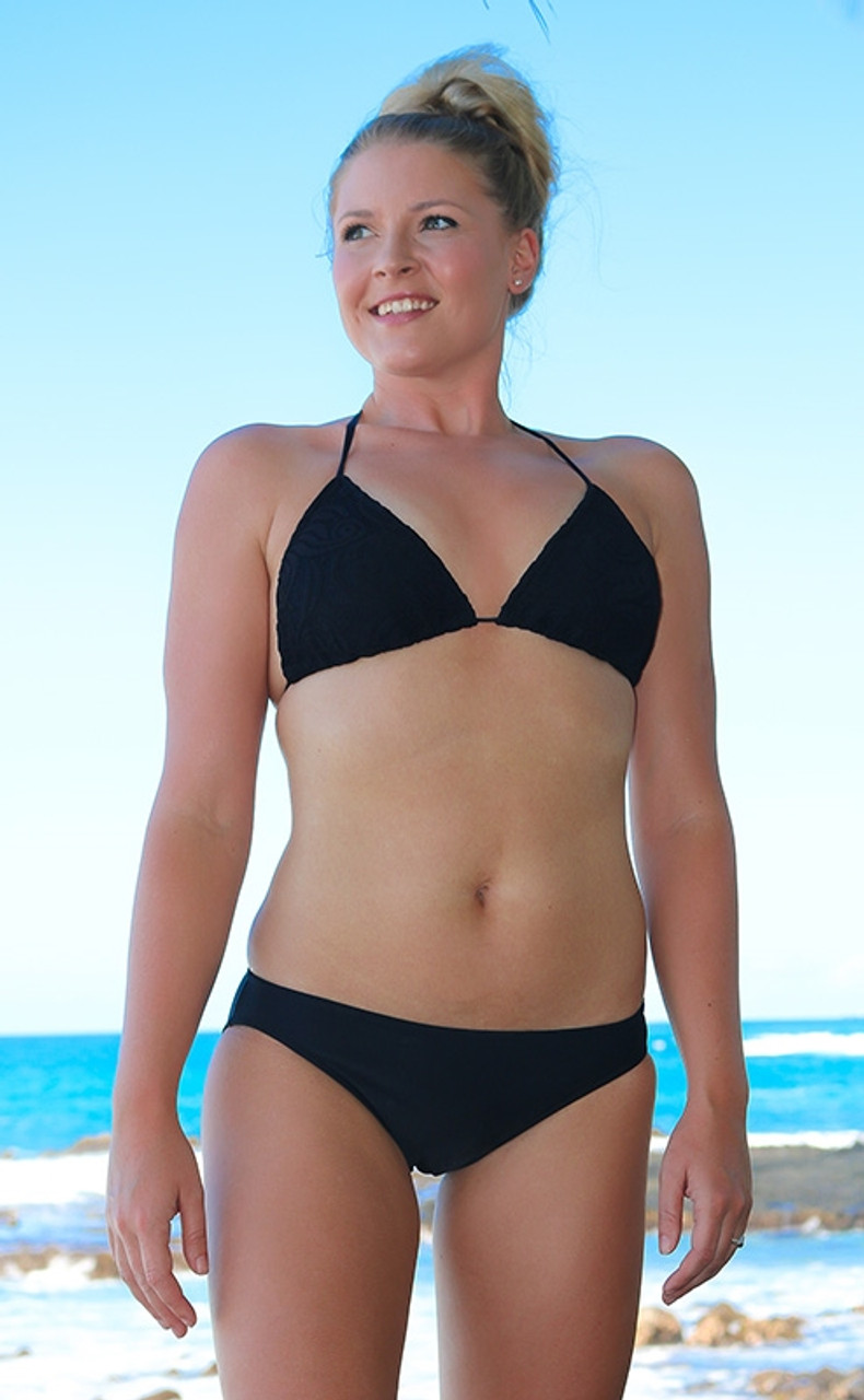 56b9f90c23 Black Lace Triangle String Bikini Top - Sunnyside Swimwear