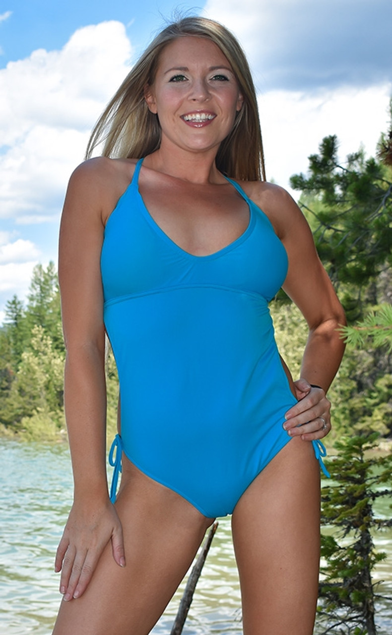 01d6144244cd1 Blue Scrunch Butt Monokini One Piece Swimsuit with Cross Back ...