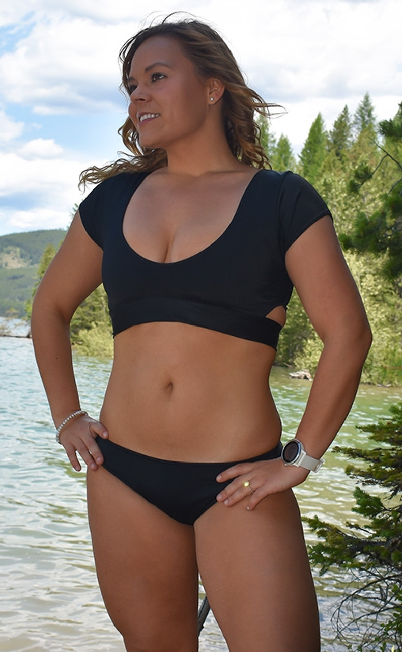ae7454c2d8212 Black Short Sleeve Bikini Top with Cutout Sides and Tie Back ...