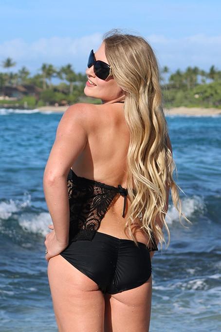 120f6c1665c19 Black Lace Apron Back Halter Tankini Top &Optional Scrunch Butt ...
