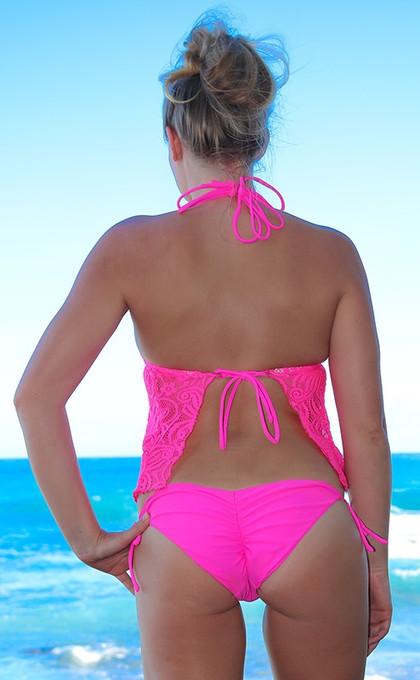 d10e8f9da Hot Pink Open Back Halter Tankini Swimsuit with Side Tie Scrunch ...
