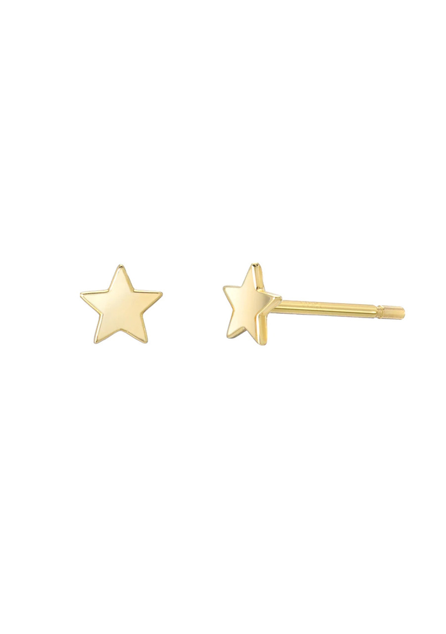 14k gold small  stars stud earrings