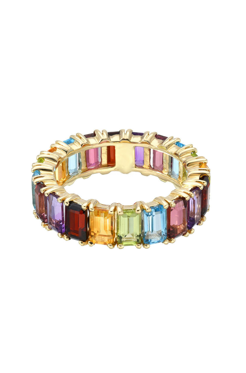 Rainbow Eternity Emerald Cut Ring