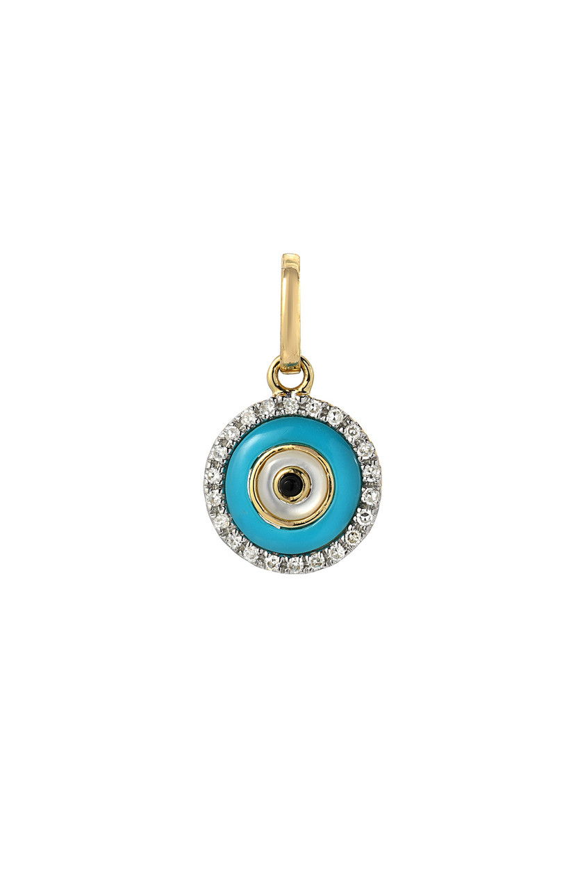 14k gold diamond evil eye turquoise charm