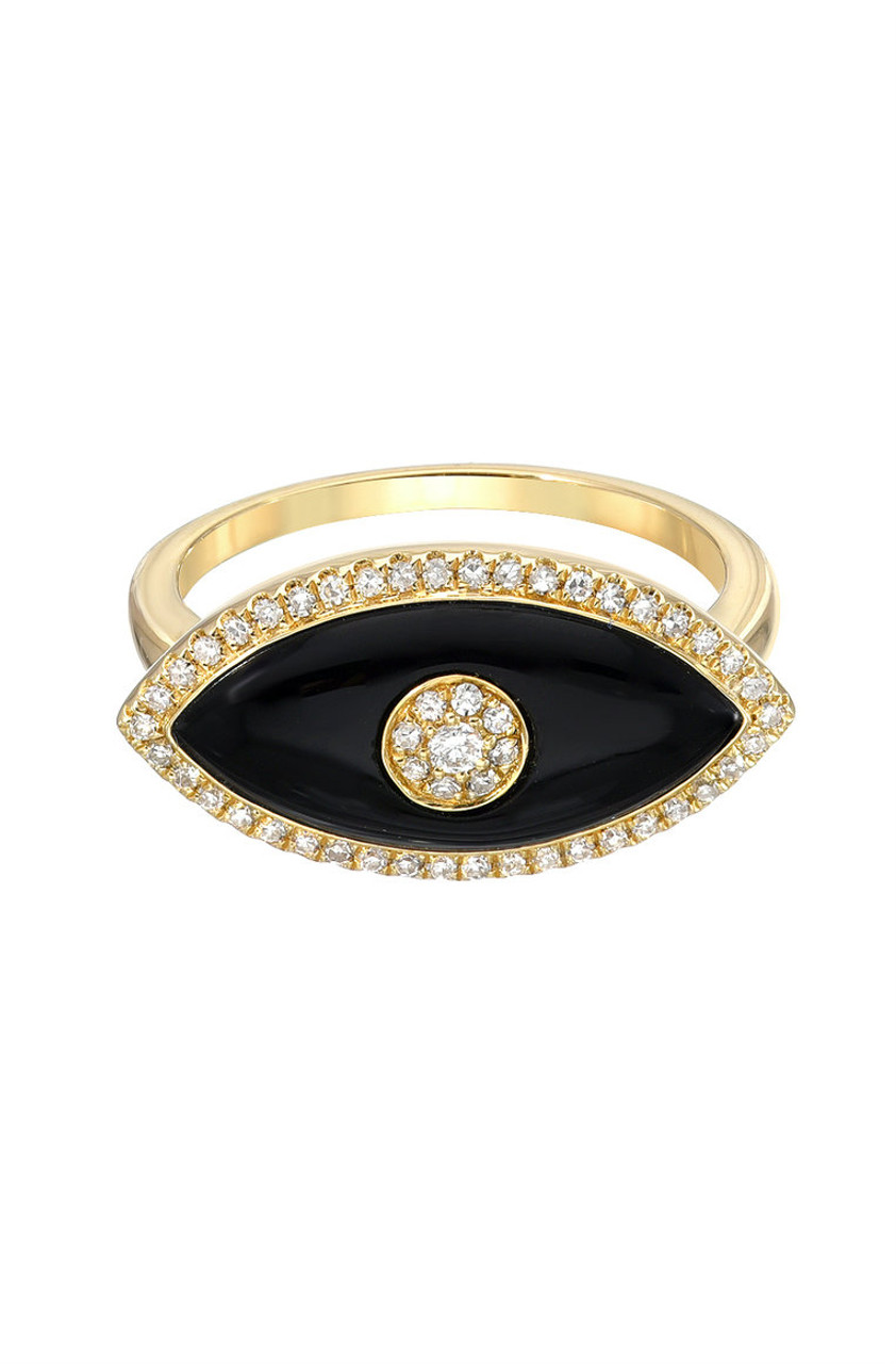 Diamond black onyx evil eye ring