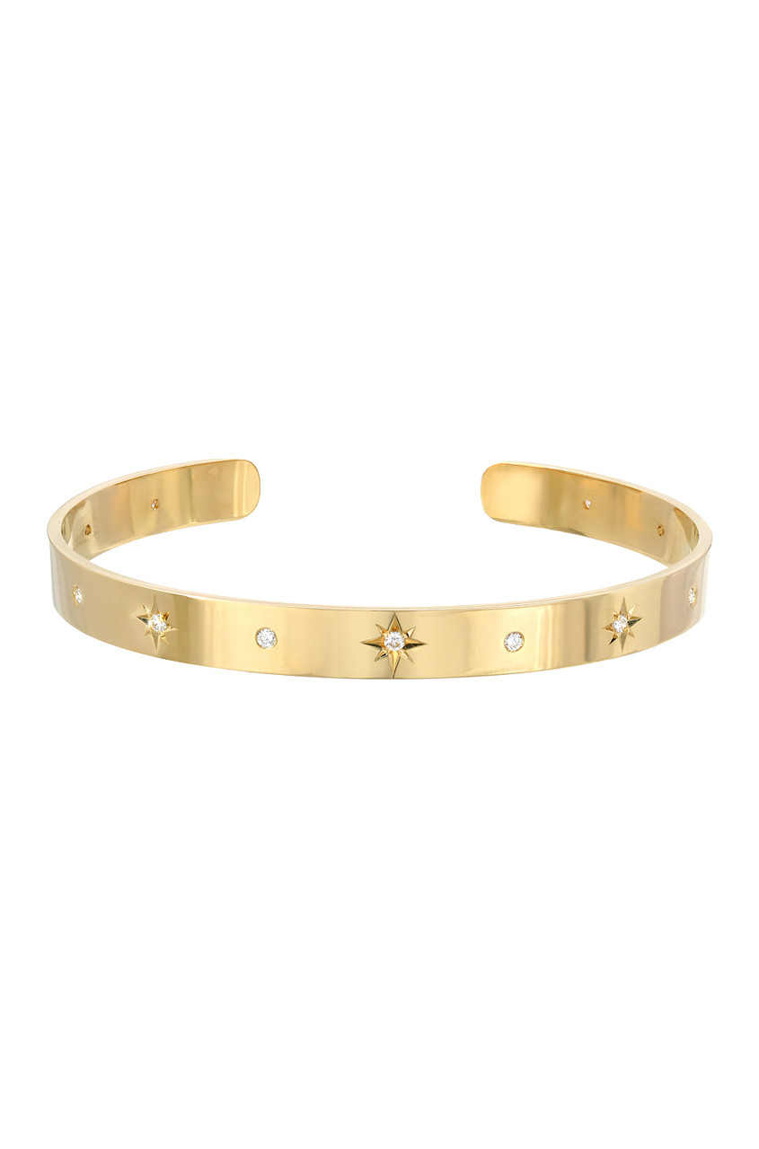 14k gold diamond sunburst cuff