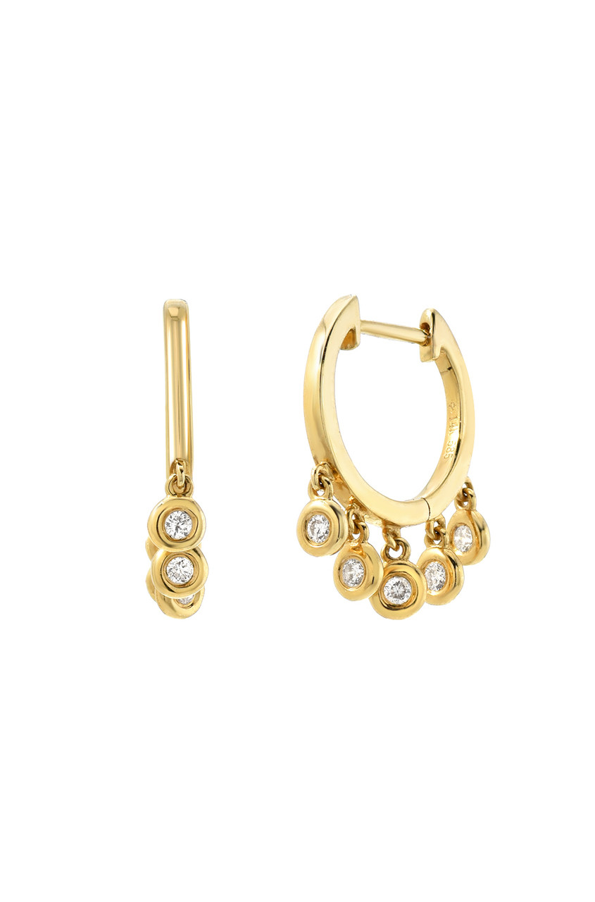 14k Gold Huggie Bezel Fringe Earrings
