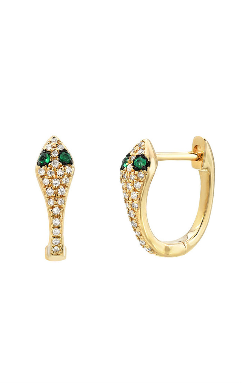 Diamond snake huggies earrings