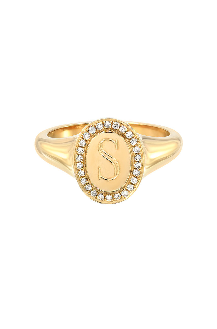 14k Gold Diamond Frame Signet Ring