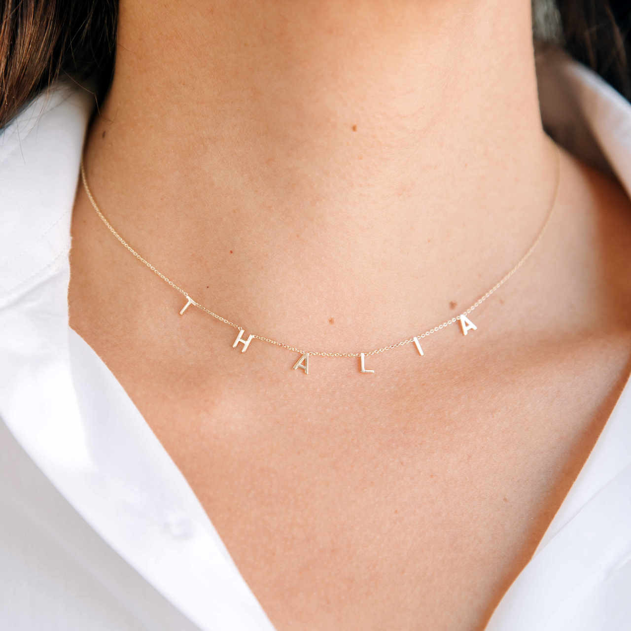 14k Gold Mini Spaced Initial Necklace