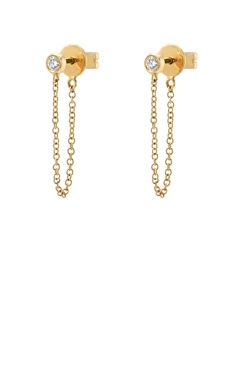 Bezel Diamond Stud Chain Earrings