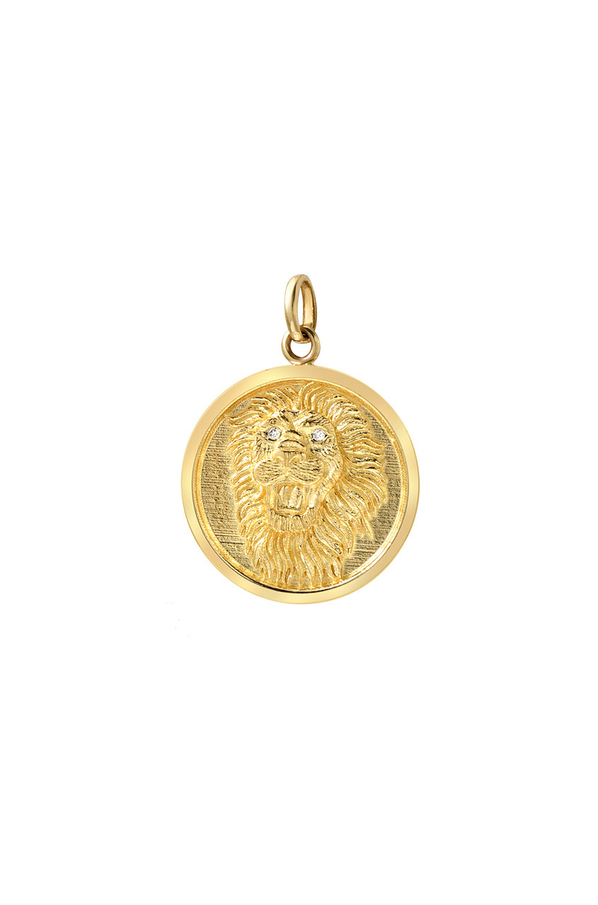 14k gold diamond eyes lion medallion pendant