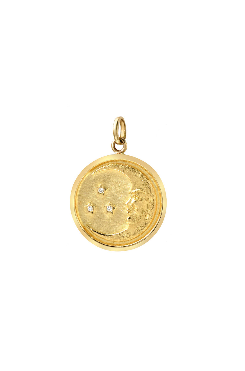 14k gold diamond moon medallion pendant