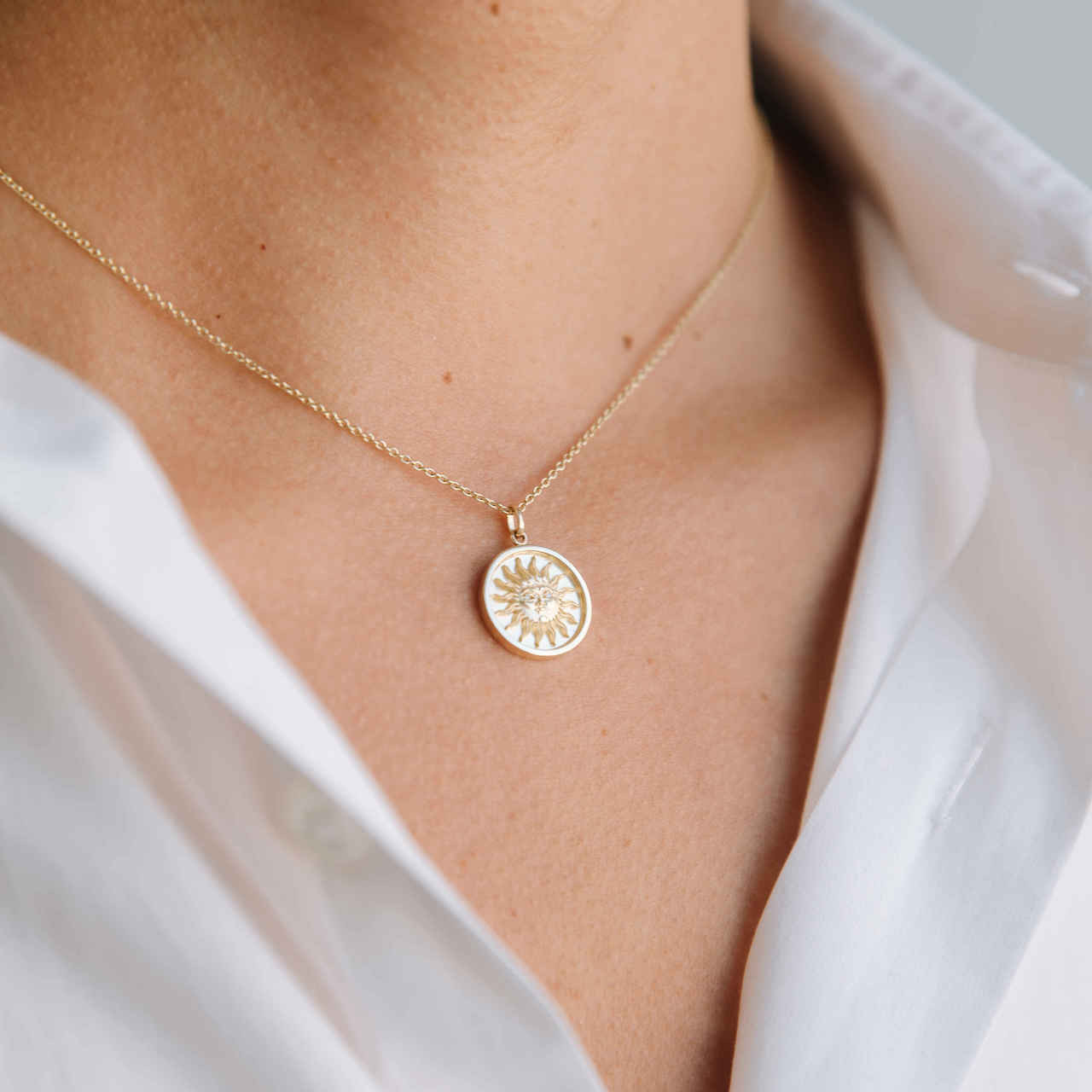 14k gold diamond sun medallion necklace