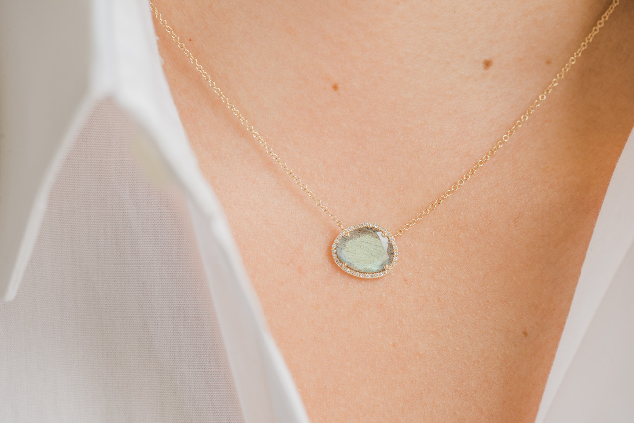 Diamond Labradorite Necklace