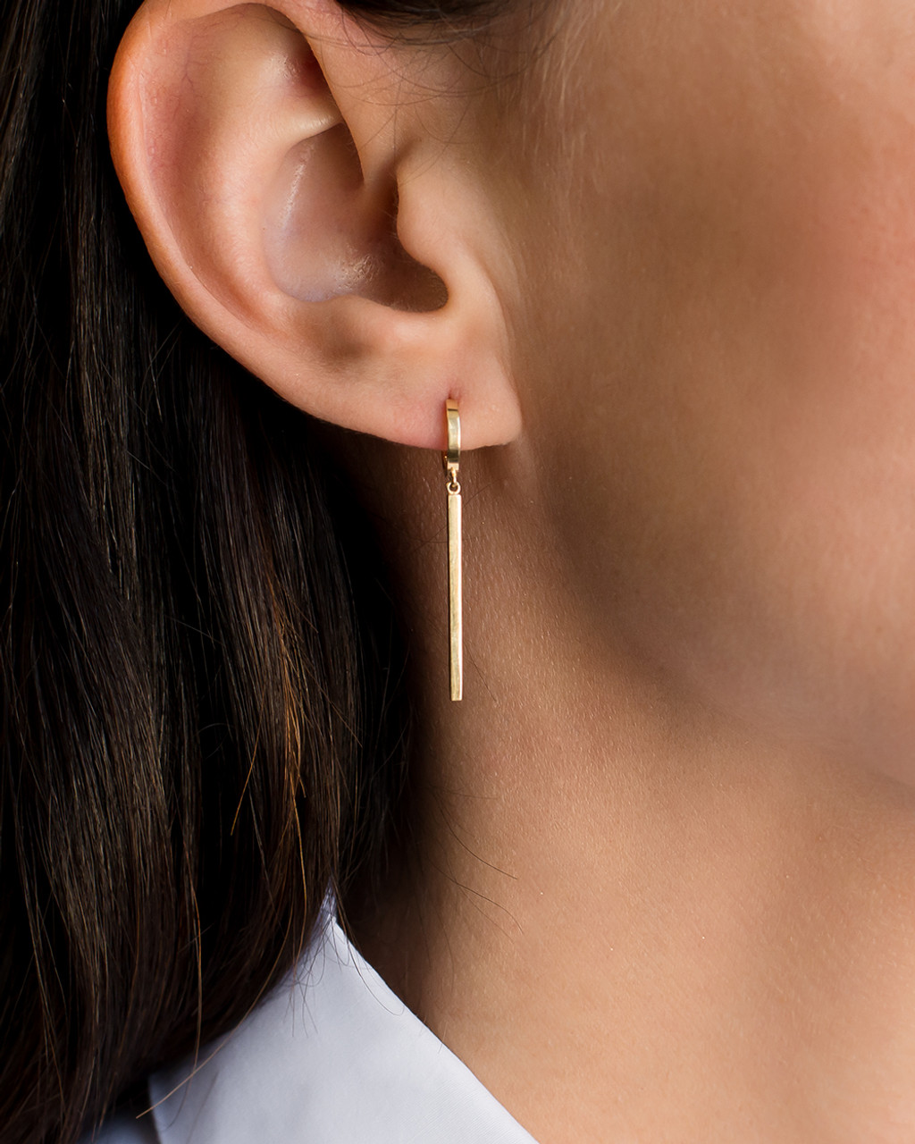 14k gold hoop earrings with dangling bars
