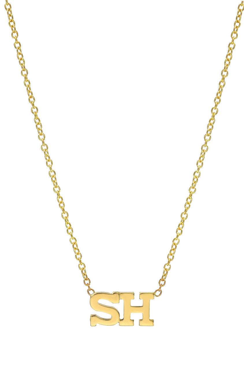 14k Gold Multiple Block Letters Necklace