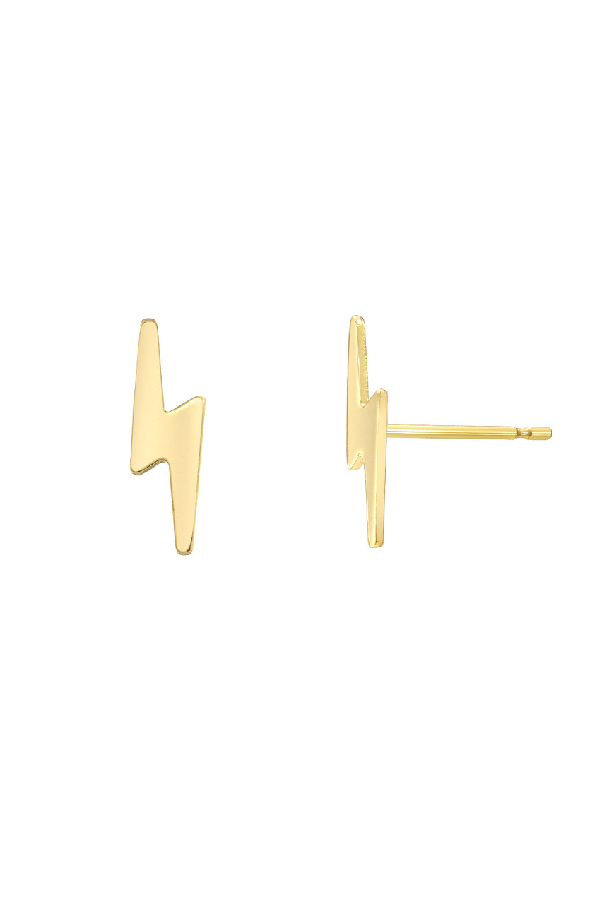 14k Gold Tiny Lightning Bolt Stud Earrings