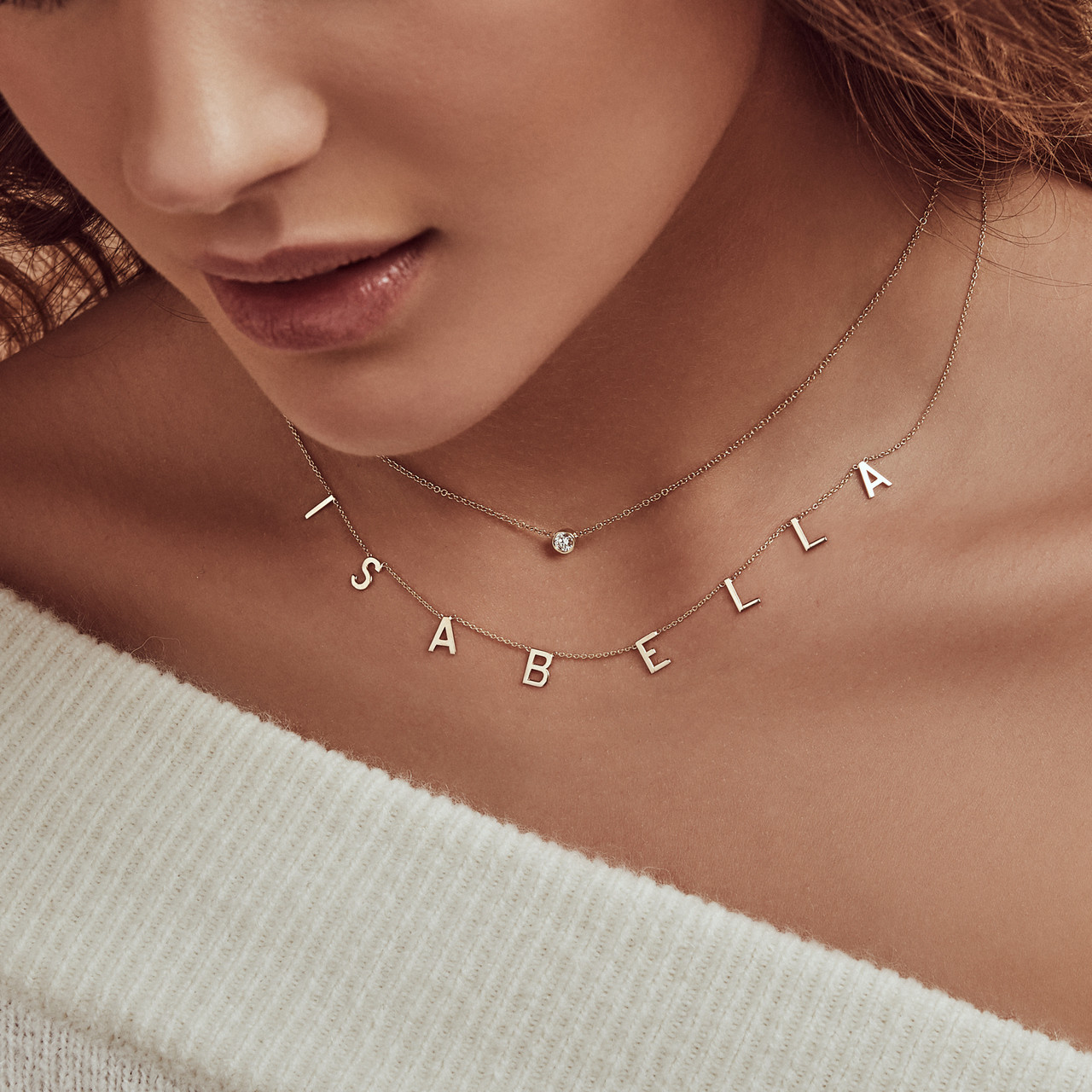 14K Gold Spaced Initials Necklace with Bezel Diamond