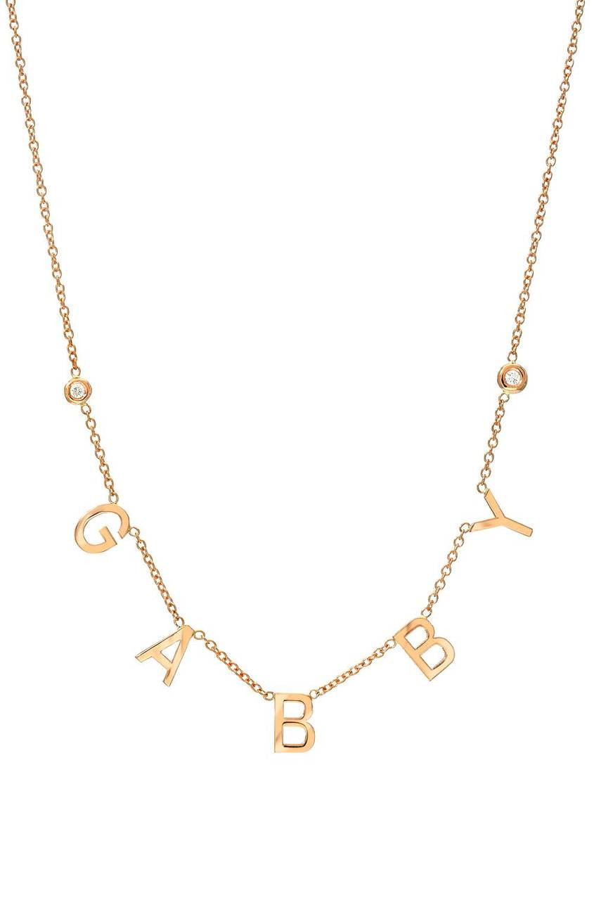 14k gold spaced initial with bezel diamonds necklace