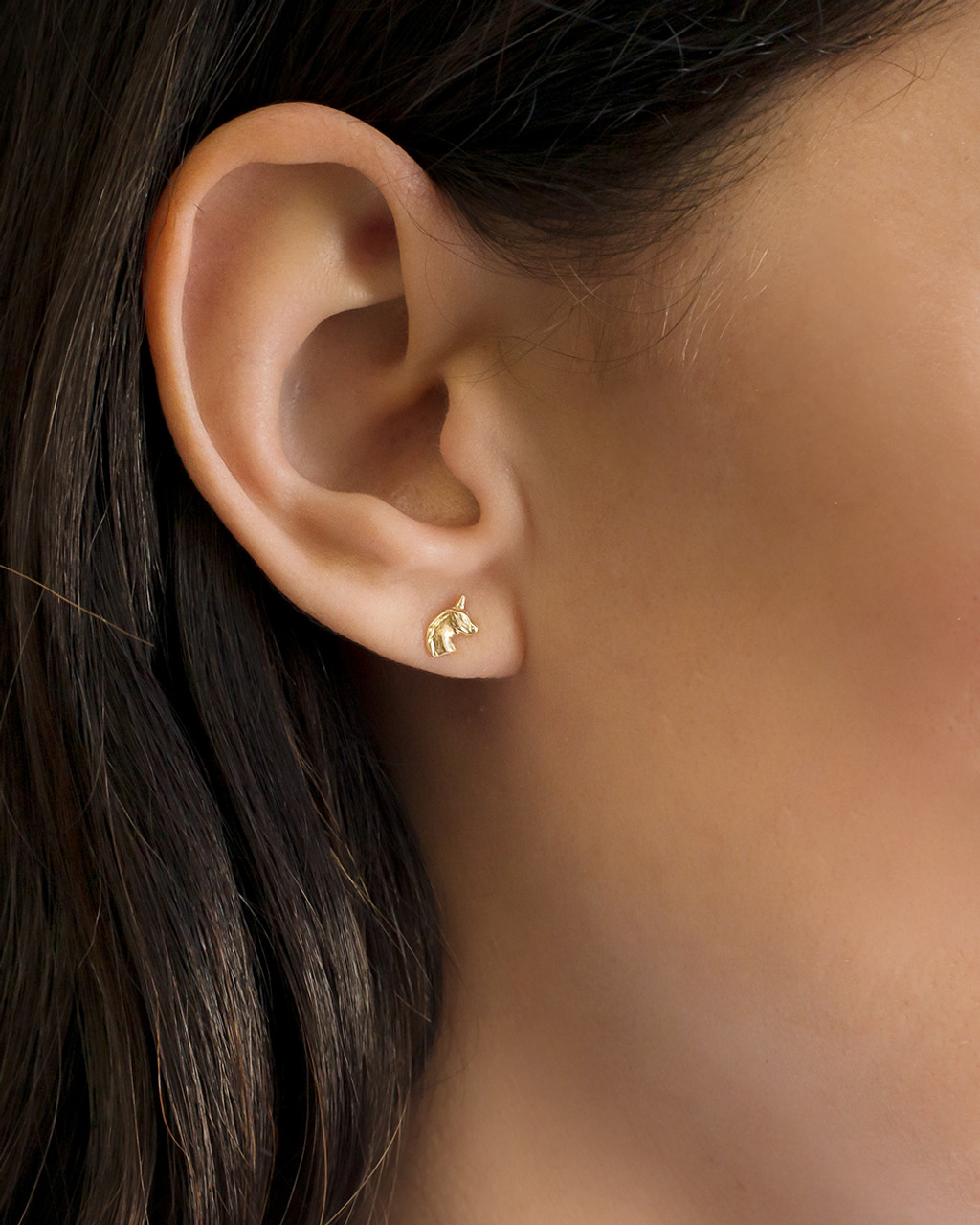 14k Gold Unicorn Stud Earrings