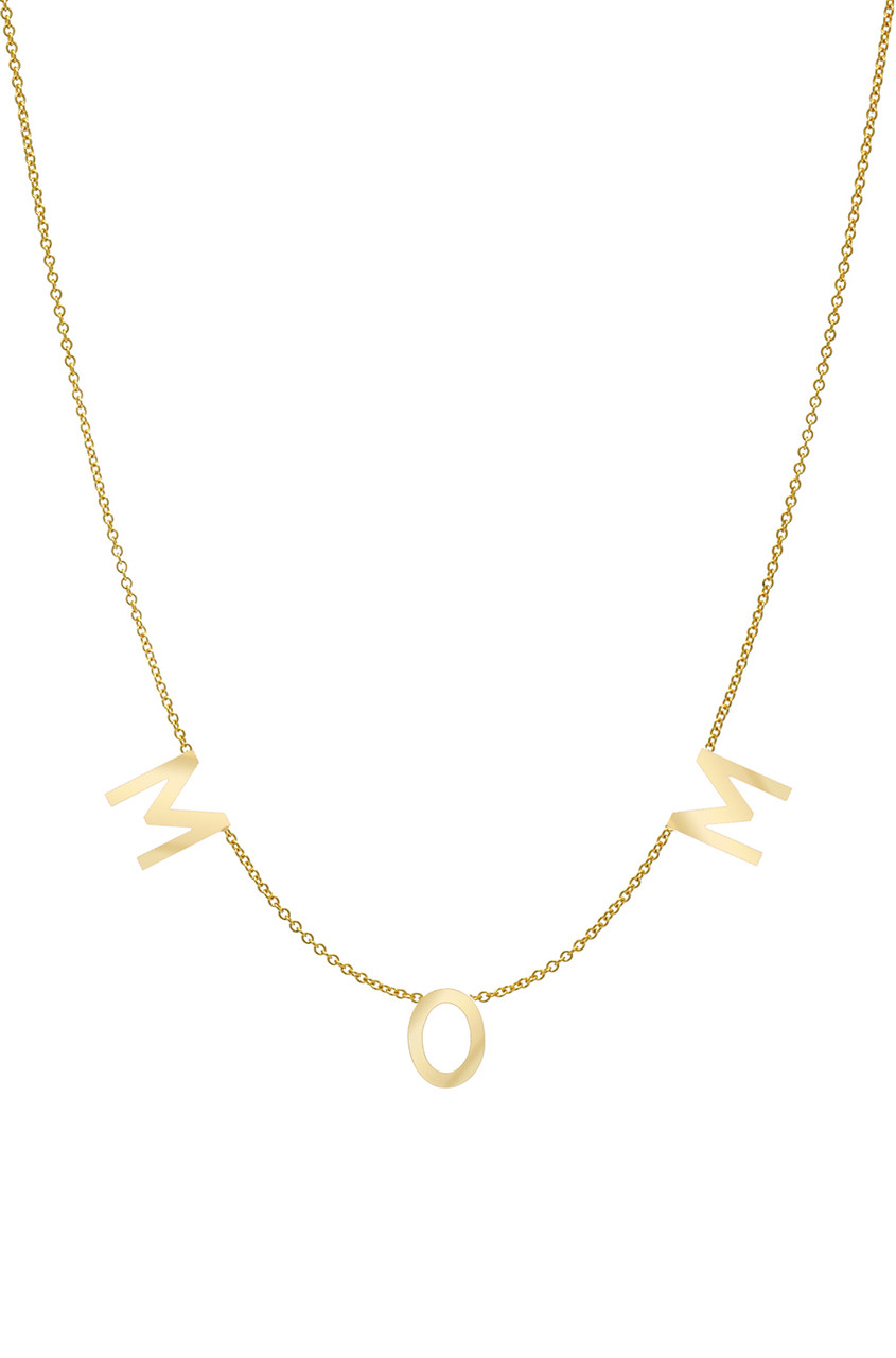 14k Gold Spaced Mom Necklace