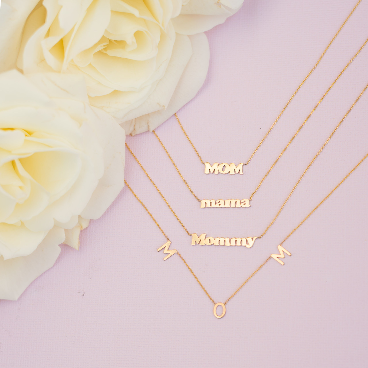 14k Gold Block Mom Necklace
