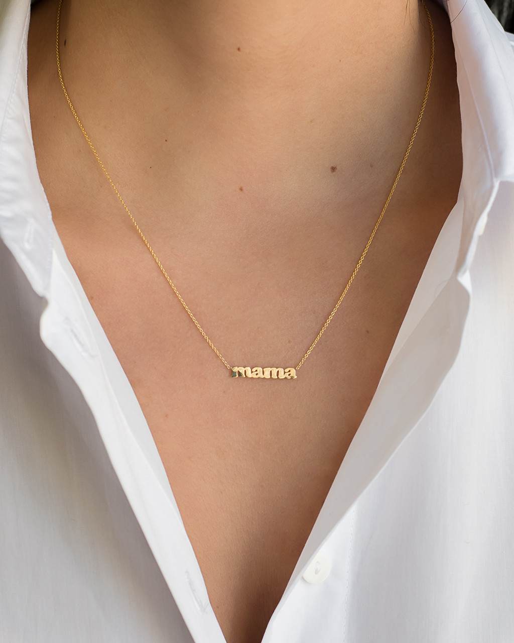 14k Gold Block Mama Necklace