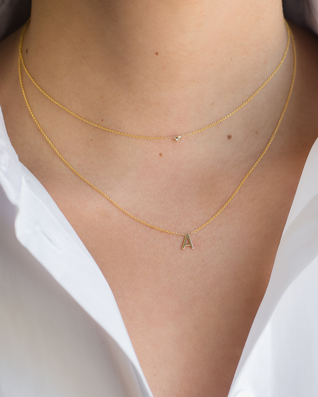 14k gold Initial & Bezel Diamond Layer Necklace