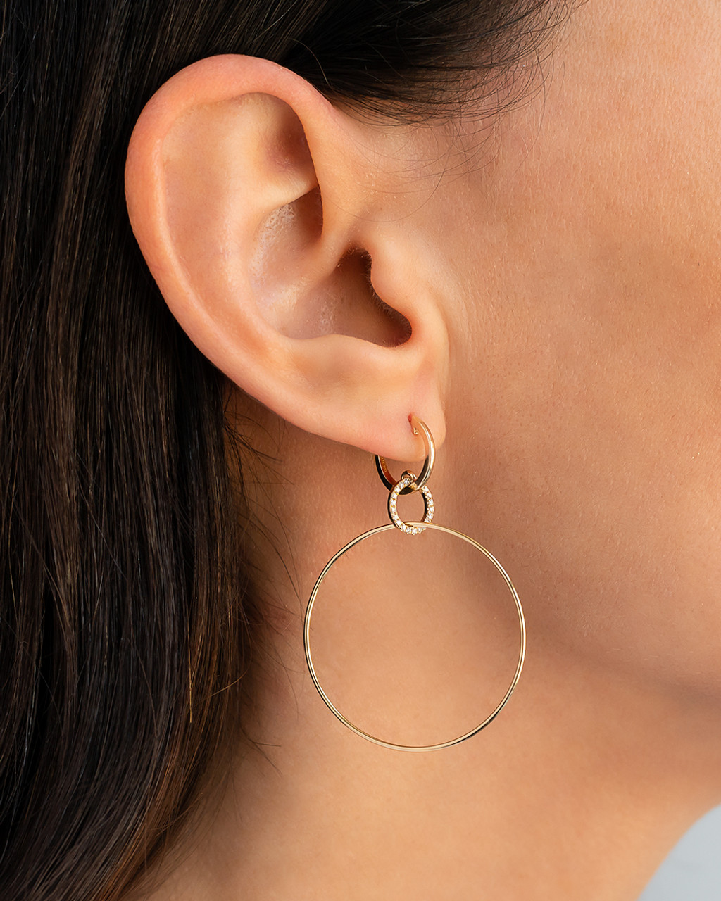 14k gold huggies with small diamond circle and large hoops